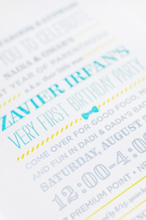 Bowtie Letterpress First Birthday Party Invitations Lilly Louise5 300x451 Zaviers Cheerful Bow Tie First Birthday Party Invitations