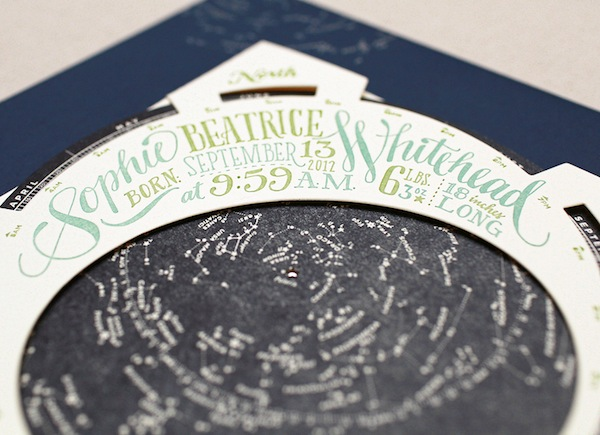 Constellation Starfinder Birth Announcements Ladyfingers Letterpress Oh So Beautiful Paper19 Hand Lettering with Ladyfingers Letterpress