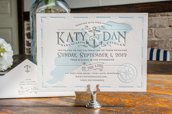 Lakeside Wisconsin Letterpress Wedding Invitations Lucky Luxe Katy + Dans Lakeside Wisconsin Wedding Invitations