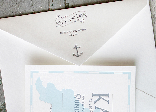 Lakeside Wisconsin Letterpress Wedding Invitations Lucky Luxe5 Katy + Dans Lakeside Wisconsin Wedding Invitations