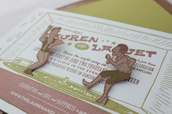 Lauren+LaQuet4 600x399 Happy and Gay Letterpress Wedding Invitations
