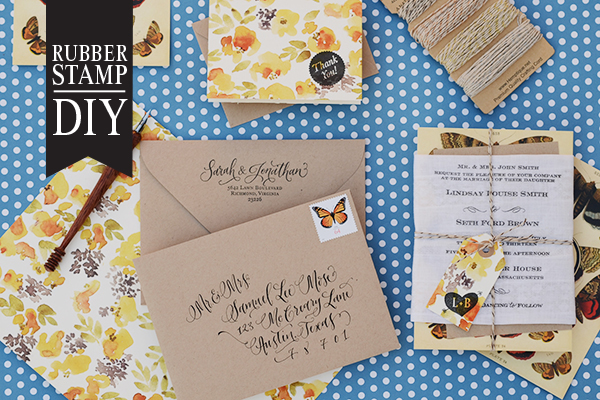 ButterflyHandkerchief FInal 1 copy DIY Tutorial: Rubber Stamp Butterfly Handkerchief Wedding Invitations