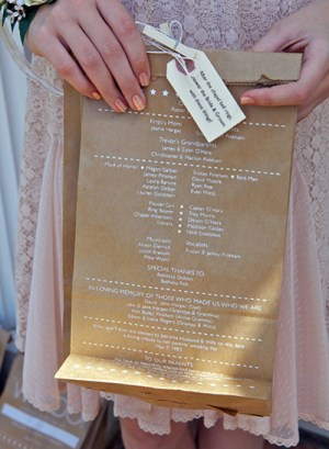 Ceremony Program Lunch Sacks Joel Loera1 300x409 Wedding Stationery Inspiration: Treat Bags