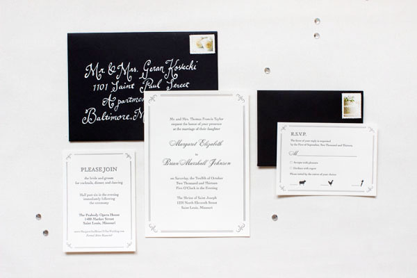 Elegant Formal Black White Letterpress Wedding Invitations Margaret + Brians Elegant Formal Wedding Invitations