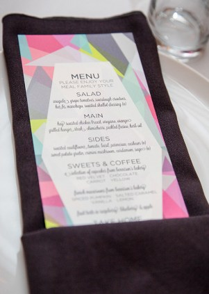Neon Wedding Menu Greenhouse Loft 33 West Designs 300x421 Wedding Stationery Inspiration: Neon
