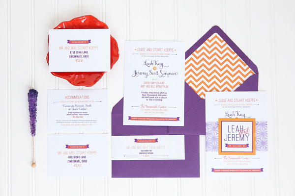 Orange Purple Chevron Stripe Wedding Invitations Ten Four Paper2 Leah + Jeremys Modern Chevron Stripe Wedding Invitations