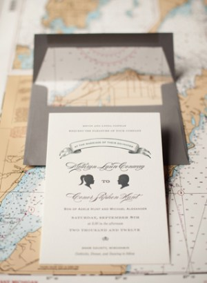 Travel Inspired Letterpress Wedding Invitations Sarah Drake6 300x410 Kate + Conors Travel Inspired Letterpress Wedding Invitations