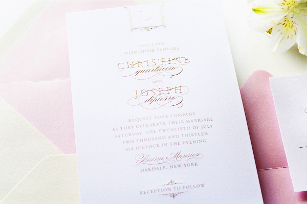 Glam Gold Engraved Pink Letterpress Wedding Invitations Sincerely Jackie6 Christine + Josephs Classic Pink and Gold Engraved Wedding Invitations