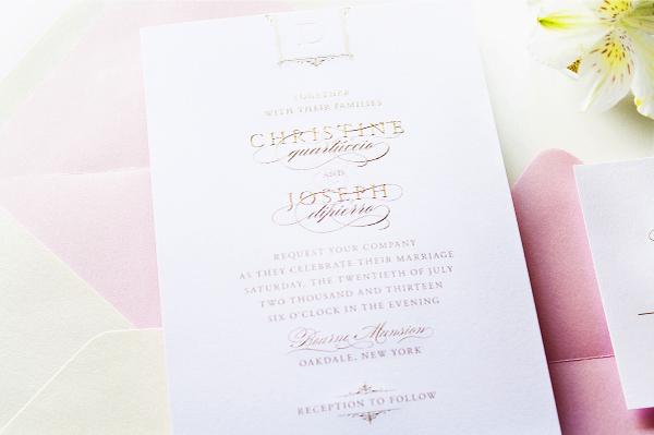 Glam Gold Engraved Pink Letterpress Wedding Invitations Sincerely Jackie6 Christine + Josephs Classic Pink and Gold Engraved Wedding Invitations