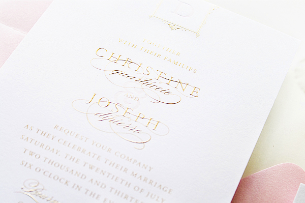 Glam Gold Engraved Pink Letterpress Wedding Invitations Sincerely Jackie8 Christine + Josephs Classic Pink and Gold Engraved Wedding Invitations