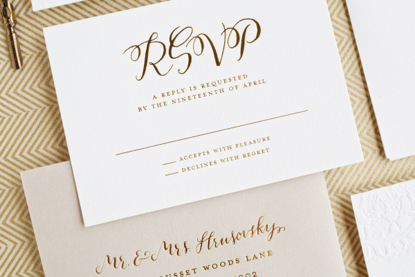Gold Foil Calligraphy Wedding Invitations Lauren Chism Fine Papers5 Carley + Johns Gold Foil and Calligraphy Wedding Invitations