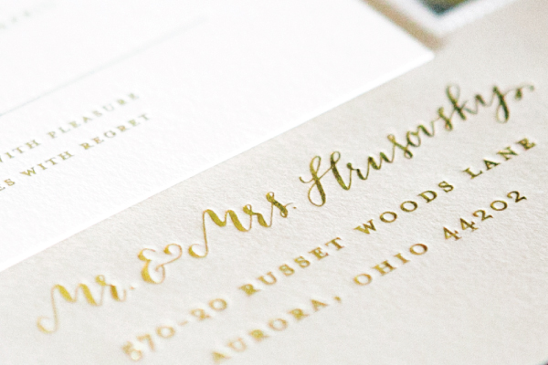 Gold Foil Calligraphy Wedding Invitations Lauren Chism Fine Papers6 Carley + Johns Gold Foil and Calligraphy Wedding Invitations