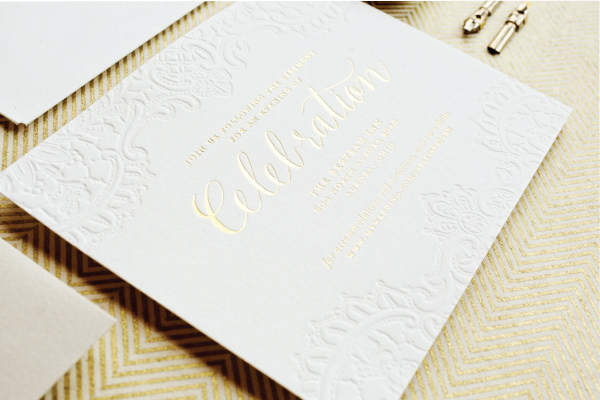Gold Foil Calligraphy Wedding Invitations Lauren Chism Fine Papers8 Carley + Johns Gold Foil and Calligraphy Wedding Invitations