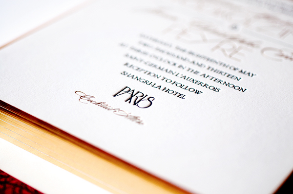 Gold Foil Paris Wedding Invitations Atelier Isabey4 Chris + Yelenas Gilded Parisian Wedding Invitations