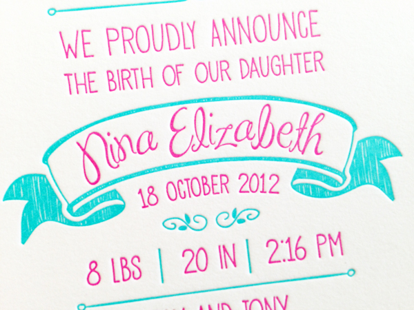 Hot Pink Aqua Letterpress Birth Announcements Noteworthy Paper and Press4 Ninas Colorful Hot Pink + Turquoise Birth Announcements