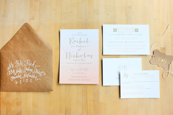 Peach Gray Ombre Wedding Invitations Inclosed Studio2 Rachel + Nicks Ombre Letterpress Wedding Invitations