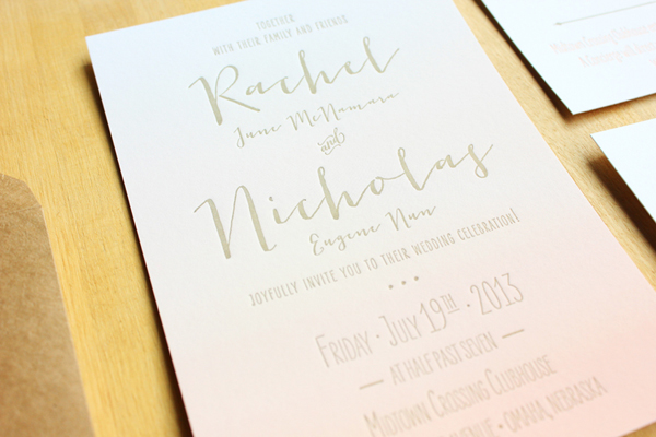 Peach Gray Ombre Wedding Invitations Inclosed Studio3 Rachel + Nicks Ombre Letterpress Wedding Invitations