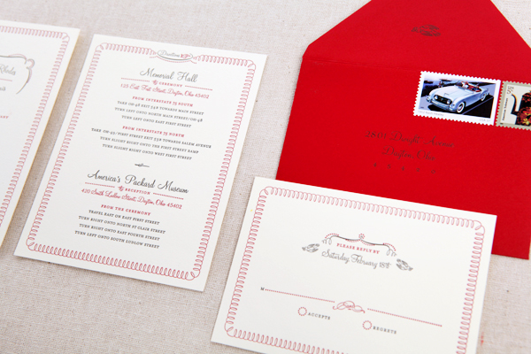 Red White Retro Wedding Invitations Real Mart4 Crystal + Jasons Red and White Retro Wedding Invitations