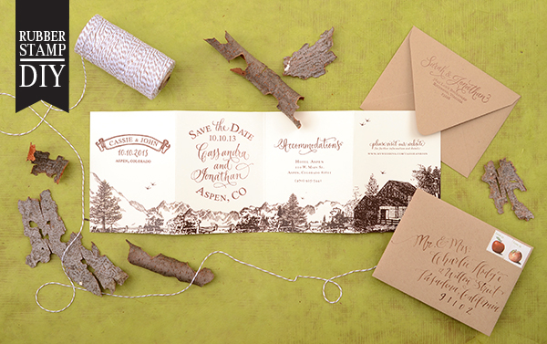 final DIY Tutorial: Rubber Stamp Mountain Inspired Save the Dates