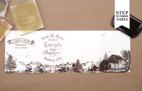 step31 DIY Tutorial: Rubber Stamp Mountain Inspired Save the Dates