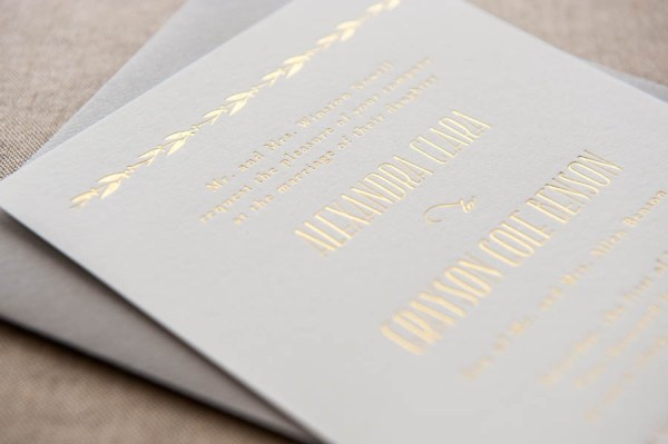 Aerialist Press Foiled Wedding Invitations12 600x399 Quick Pick: Aerialist Press Foiled Wedding Invitations