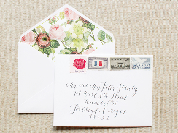 Calligraphy Floral Wedding Invitations LaHappy6 Megan + Nicks Calligraphy and Floral Wedding Announcements