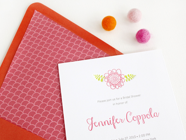 Floral Letterpress Bridal Shower Invitations Rafftruck Designs2 ...