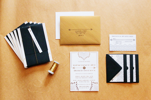 Gold Foil Art Deco Wedding Invitations 4th Year Studio Adrienne + Wills Glamorous Gold Foil Art Deco Wedding Invitations