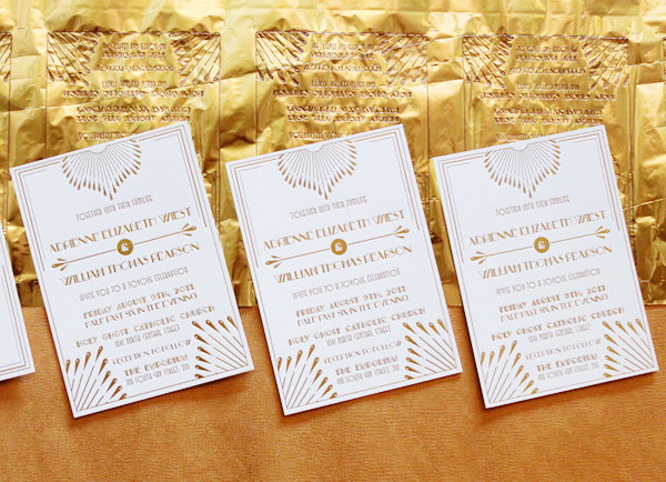 Gold Foil Art Deco Wedding Invitations 4th Year Studio3 Adrienne + Wills Glamorous Gold Foil Art Deco Wedding Invitations