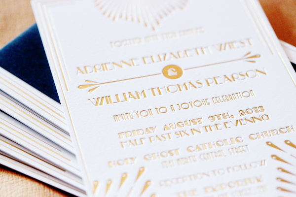 Gold Foil Art Deco Wedding Invitations 4th Year Studio4 Adrienne + Wills Glamorous Gold Foil Art Deco Wedding Invitations