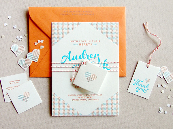 Orange Blue Letterpress Overprint Wedding Invitations Studio SloMo Best of 2013: Wedding Invitations