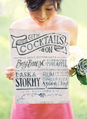 Signature Drink Sign Julie Song Ink Jose Villa 300x407 Wedding Stationery Inspiration: Signature Drink Signs
