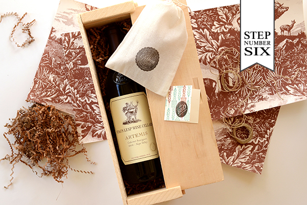 WineBoxFavor Step6 DIY Tutorial: Gift Wrapped Wine Box Favors
