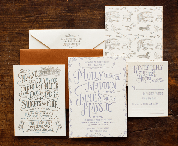 Woodland Toile Wedding Invitations Ladyfingers Letterpress Best of 2013: Wedding Invitations