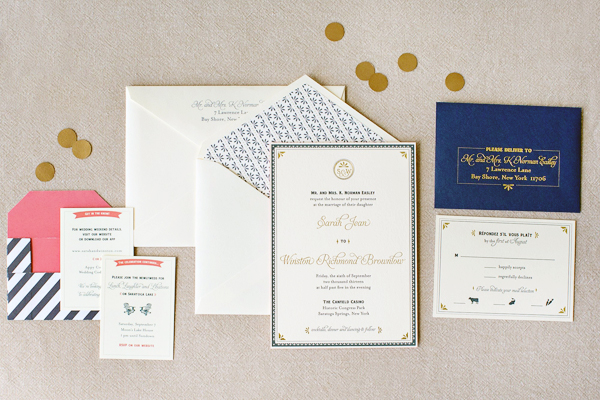 Blue Gold Letterpress Wedding Invitations JennyC Design Sarah + Winstons Navy, Gold, and Coral Letterpress Wedding Invitations