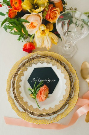 Hexagon Place Cards Kelly Cummings Spindle Photography 300x451 Wedding Stationery Inspiration: Hexagons