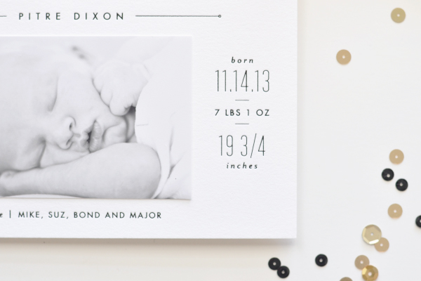 Lauren Chism New Year Birth Announcement6 Jacksons Sleek Black + White Birth Announcements