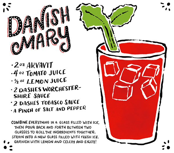 OSBP Signature Cocktail Recipe Card Danish Mary Shauna Lynn Illustration Friday Happy Hour: The Danish Mary