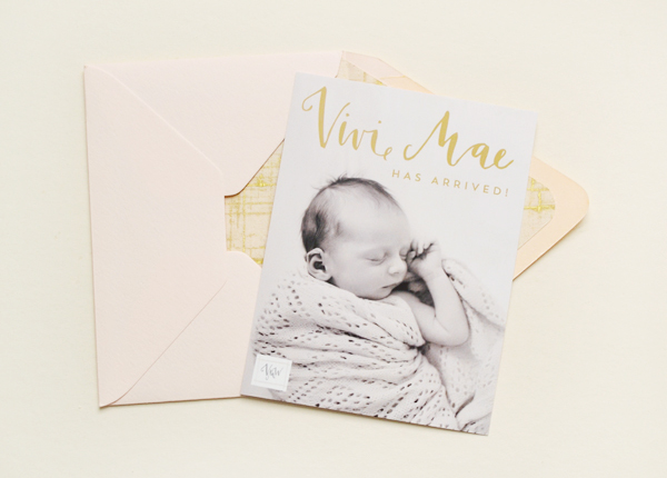Peach Gold Girl Baby Announcements Val Marie Paper2 Vivi Maes Peach + Gold Birth Announcements