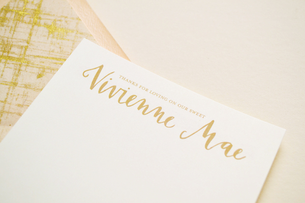 Peach Gold Girl Baby Announcements Val Marie Paper8 Vivi Maes Peach + Gold Birth Announcements