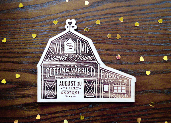 Rustic Etched Wood Barn Save the Dates Shauna Luedtke Shauna + Darrells Rustic Etched Wood Barn Save the Dates