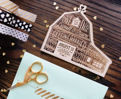 Shauna + Darrell's Rustic Etched Wood Barn Save the Dates