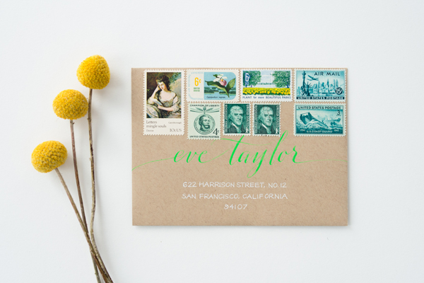 How To Mix Vintage Postage Underwood Letterpress Anne Robin Calligraphy Sweet Pea2 Stationery Inspiration: Mixing Vintage Postage