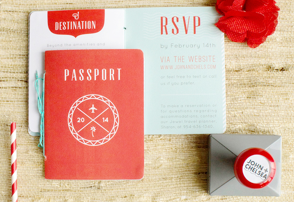 Red Aqua Passport Destination Wedding Invitations Two if by Sea Studios Chelsea + Johns Colorful Passport Wedding Invitations