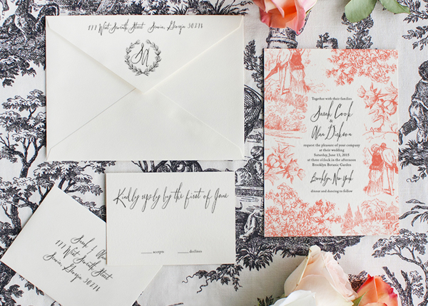 Toile Pattern Wedding Invitations Lucky Luxe Couture Correspondence Sarah + Alans Modern Toile Wedding Invitations