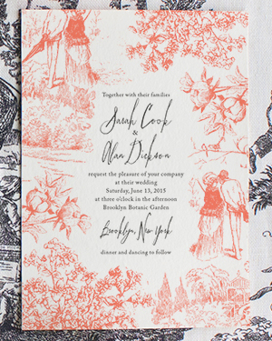 Toile Pattern Wedding Invitations Lucky Luxe Couture Correspondence2 Sarah + Alans Modern Toile Wedding Invitations