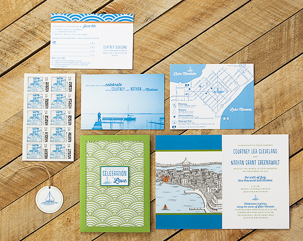 Wisconsin Lake Wedding Invitations Sugar River Stationers Courtney + Nates Wisconsin Lake Wedding Invitations