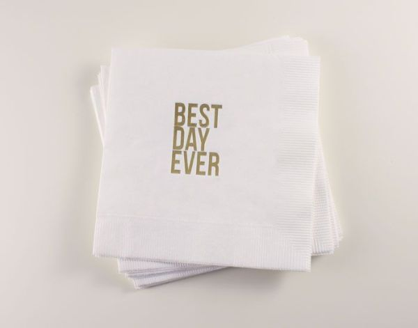Best Day Ever Napkins Betsy White 600x471 Wedding Stationery Inspiration: Best Day Ever