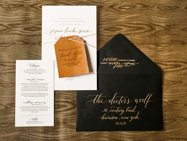Calligraphy Gold Foil Wedding Invitations Atheneum Creative Jaymie + Miless Calligraphy Gold Foil Wedding Invitations