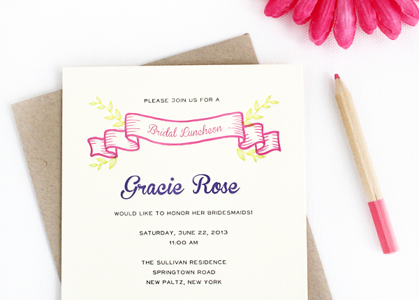 Colorful Floral Bridal Luncheon Invitations Rafftruck Designs6 Gracies Colorful Bridal Luncheon Invitations